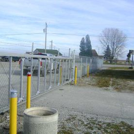 commercial chain fence beside road