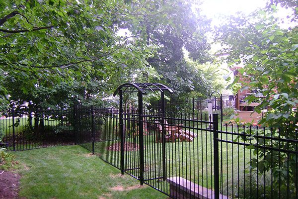 residential long iron fence and gates