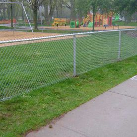 commercial chain fence with garden