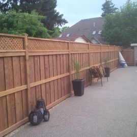 wood fencing with plants