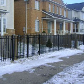 commercial ornamental fence with snow1