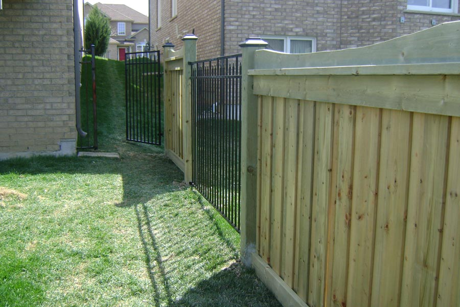 commercial ornamental fence with single phase house