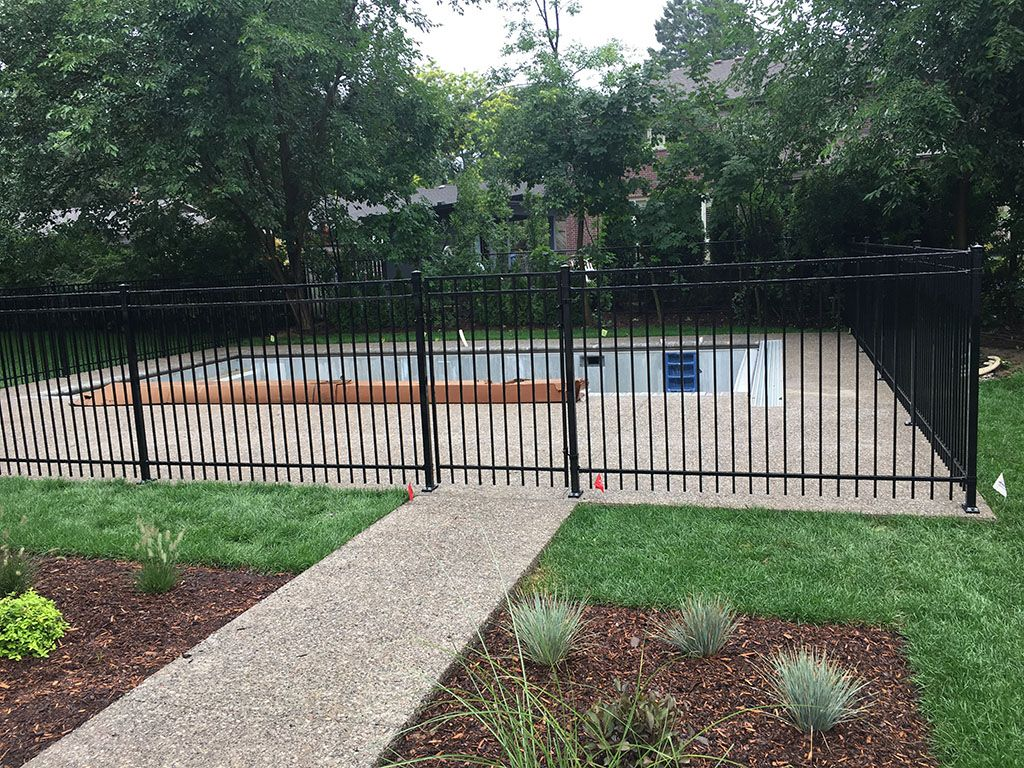 residential iron fence with pool